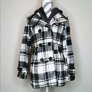 Jackets & Blazers - Gray & White Plaid Double Button Coat